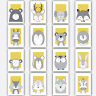 Art+Print+FOREST+ANIMAL+SKETCH+Picture+Poster+YELLOW+%26+GREY+Nursery+Baby+Wall