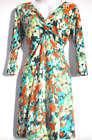 New Abstract Floral Print Vtg 40's 50's Style V-Neck Jersey Tea Dress 10 12 16
