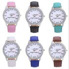Fashion Womens New Luxury Rhinestone Leather Analog Quartz Bracelet Wrist Watch