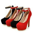 Wedding Faux Suede Womens Court Buckle Rounded Toe Bridesmaid Pumps US 2-10