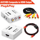 AV/CVBS Composite to HDMI Output with HDMI Cable For HDTV VCR DVD PS3 Monitors