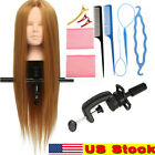 26'' Human Hair Training Practice Head Mannequin Hairdressing + Braid Tool Set