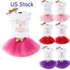 tutu baby dresses - US Stock Baby Girl Birthday Dress Rompers Tutu Skirt Headband Outfit Clothes Set