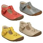GIRLS CLARKS LEATHER T-BAR BUCKLE CUT OUT FRONT FIRST CRUISER SHOES LITTLE WEAVE