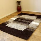 CLEARANCE RUGS WITH BOX PATTERN BROWN COLCOUR 5CM THICK PILE MODERN SHAGGY RUG