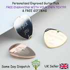 Personalised Guitar Plectrums Picks /Necklace- Engraved Any Message Gold, Silver