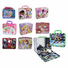 Children's Metal Tin Lunch Box Carry All Gift Bag Case w/ Puzzle or Cards Game