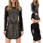 WOMEN'S EMBELLISHED MINI DRESS Black Silver Studs Bodycon Party Dress SIZE 8-12