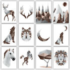 Art PRINT GEOMETRIC ANIMAL FOREST collection BROWN & GREY Poster Wall 3 for 2