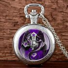 Vintage Cross Skull Dragon Pocket Watch Quartz Pendant Antique Necklace Chain image