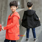 2018 New Spring Kids Young Boys Hooded Windbreak Coat Long Style Cool Fashion