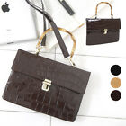 CELEBRITY STYLE BAMBOO HANDLE FLAP TOTE SHOULDER  BAG FAUX CROCO ENAMEL LEATHER