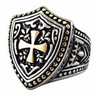 Mens Maltese Cross Knights Templar Shield Cross Ring Stainless Steel Size 8-15