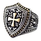 Knights Templar Ring Stainless Steel LARP Cosplay Shield Cross Band Sizes 8-15