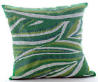 Green Beaded Sea Waves 16X16 inch Silk Pillow Covers - Missoni Dance