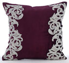 Beaded Floral Border Purple Velvet 16X16 inch Pillow Case - Art Nouveau