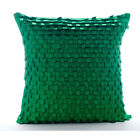 Green Pintucks And Ribbon Loops 16X16 Inch Silk Pillows Cover - I Love Missoni