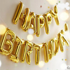 "17""Self Inflating Happy Birthday Banner Foil Balloon Bunting Gold Silver Letters"
