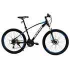 "26"" Mountain Bike Bicycle with Steel Frame 21 Speed Disc Brakes Front Suspension"