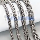 "Men Women Stainless Steel Necklace Wheat Chain Necklace 24"" 26"" 30"" 6-8mm Silver image"