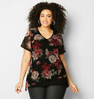 AVENUE Floral Mesh Asymmetrical Top Womens Plus Size