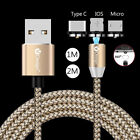 US 1-2M Round Magnetic Type C Micro USB Charger Cable For Samsung S8 S9 S9+ Lot