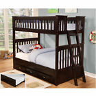 Outdoor Leisure Products Twin Over Twin Wooden Bunk Bed with 3-Drawer Under-Bed