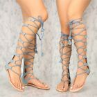 Light Denim Open toe Strappy Mid Calf Knee High Boots Sandals Flat Gladiator G12