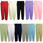 WOMENS LADIES 3/4 LENGTH ELASTICATED WAIST TROUSERS CAPRI STRETCH CROPPED PANTS