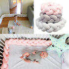 1/2M Baby Soft Plush Crib Bumper Bed Cot Braid Weaving Pillow Pad Protector Safe