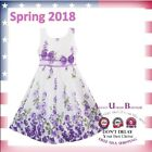 Easter Girls Dress Party Sundress Spring Roses Flowers Butterfly Double Bow Tie