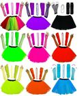 GIRLS NEW NEON UV TUTU GLOVES LEG WARMERS BEADS FANCY DRESS COSTUME HEN PARTY