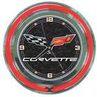 Round Neon Wall Clock with Corvette C6 Logo [ID 383991]