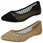Spot On Ladies Ballerina Flats With Mesh Detail