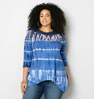 AVENUE Blue Tie Dye Sharkbite Top Womens Plus Size
