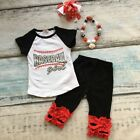 Baseball Girl Black Red Silver Capri Outfit with Accessories 4pc Set Sizes 4T-9