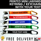 Personalised printed mini lanyard keyring keychain custom GIFT with your text