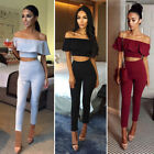 2pc/Set Women Off Shoulder Crop Tops Blouse+Pants Slim Party Trousers Solid Suit