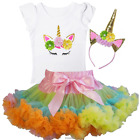 Girls Rainbow Pettiskirt Tutu & Unicorn Birthday Tee & Headband Dress Outfit