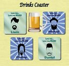 PERSONALISED MENS BEARD  DRINKS COASTER GIFT PRESENT SANTA STOCKING DAD BROTHER
