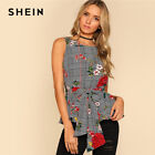SHEIN Floral Plaid Shell Top Women Round Neck Sleeveless Casual Blouse Summer