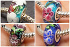 Sterling Silver European Bead *COLOR CHOICE* Murano Glass Charm