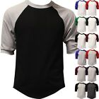 Raglan 3/4 Sleeve Baseball T Shirt Mens Plain Tee Jersey Team Sports Solid image