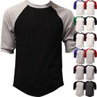 Raglan 3 4 Sleeve Baseball T Shirt Mens Plain Tee Jersey Team Sports Solid