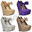 Womens High Wedge Mary Jane Bow Shoes Glitter Dark Nude Gold Silver Purple