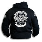 Speed Junkies Australia Biker V8 Skull Wings Pistons Patch Mens Hooded Top