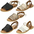 Leather Collection Ladies Flat Weaved Mule Sandals
