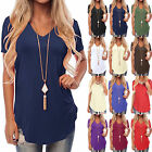 UK Summer Women Short Sleeve T Shirt V-Neck Blouse Ladies Casual Loose Tops 6-18