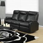 Monarch Specialties Modern Bonded Leather Reclining Sofa