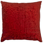 """Crushed Velvet Fashion Plain Cushions and Covers 17"""" (43cm), Deep Red"""